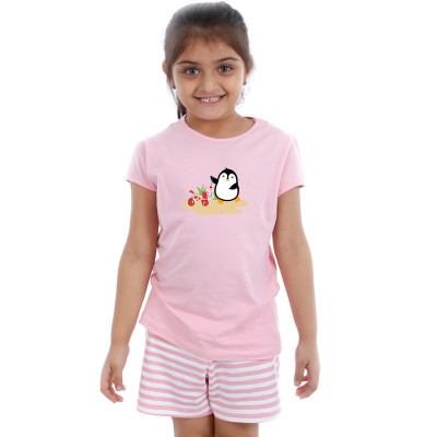 Pink Half sleeve Girls Pyjama -  Penguin